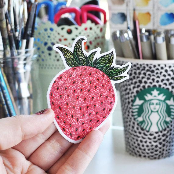Vinyl Sticker Strawberry Pattern by NicoleStefanieDesign on Etsy