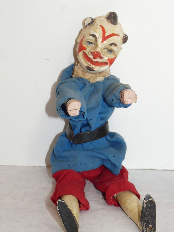 ANTIQUE Carved Wood SCARY FREAKY CLOWN Toy ACROBAT Trapeze 2-part Head ca 1900 #unknown