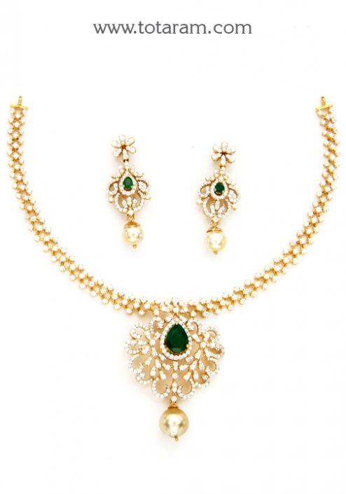 18K Gold Diamond Necklace & Earrings Set with Ruby,Onyx Stones & South Sea Pearls: Totaram Jewelers: Buy Indian Gold jewelry & 18K Diamond jewelry