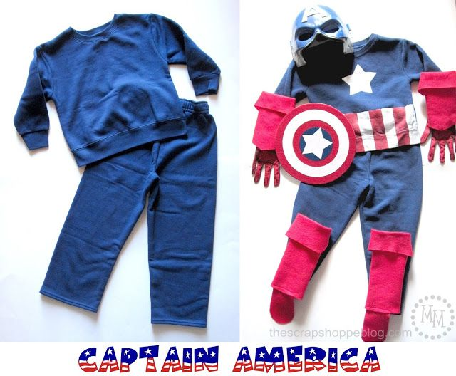 Easy DIY Captain America Costume from a pair of sweats