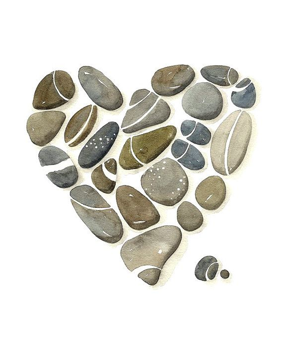 8x10 Heart Print Limited Edition Pebbles No.28 Art by Lorisworld