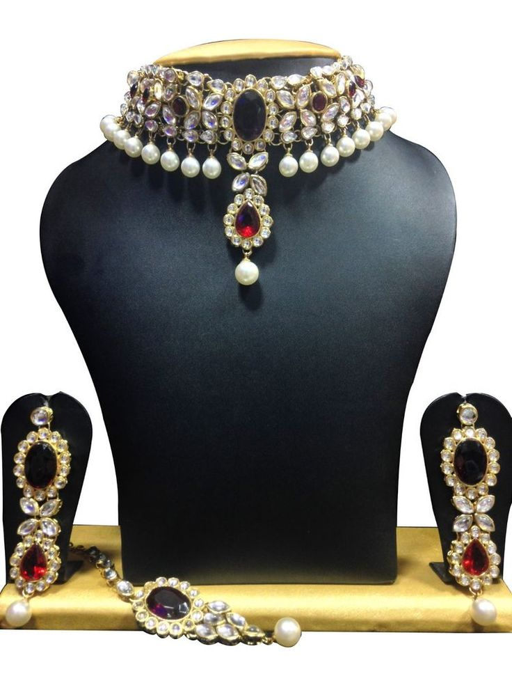 Elegant Designer Wedding Party Wear Bollywood Red Stone Kundan Necklace Set #natural_gems15