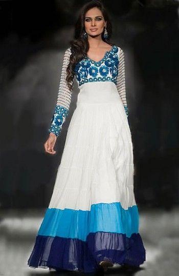 Off-White/Turquoise Crinkle Chiffon Dress