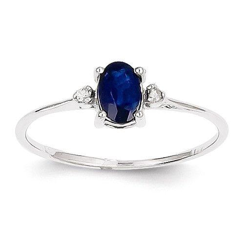 14k White Gold Diamond & Sapphire Birthstone Ring – Sparkle & Jade