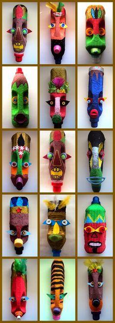 On pourrait jamais dire que ces masques sont faits avec des bouteilles recyclées.  Site catalan: http://plastiquem.blogspot.ca/2014/04/m...