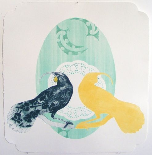 Vanessa Edwards, Ki mua, ki muri, etching and relief (framed) on 350 x 330 mm paper, from an edition of 3, 2011. NZ$490 incl GST.