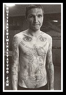 Russian Prison Tattoos Meanings | Eyes on the upper/middle torso they literally mean that the wearer is ...