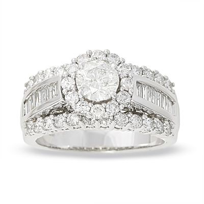 Frame Diamond Engagement Ring In White Gold Clearance Zales
