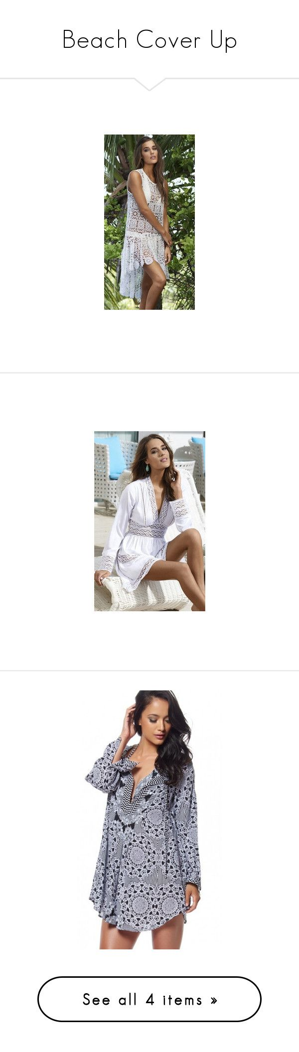 """""""Beach Cover Up"""" by michelle-251 on Polyvore featuring dresses, lacy dress, pilyq, lace dress, tops, boho tops, boho shirts, bohemian tops, bohemian style tops et boho chic tops"""