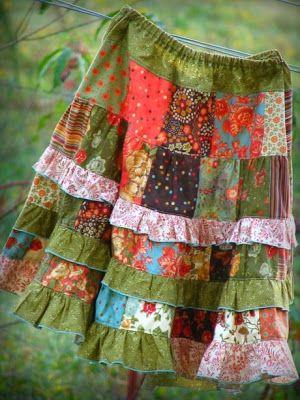 Cute patchwork skirt tutorial.