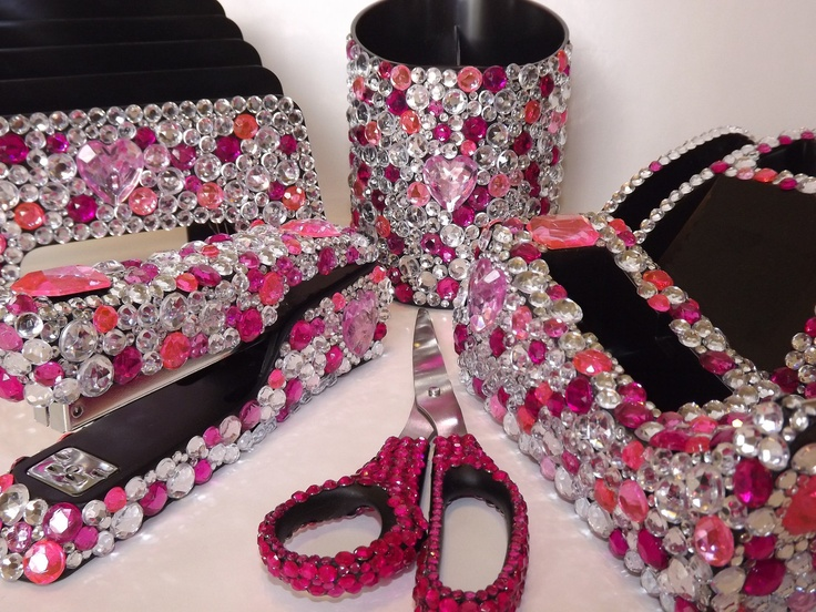 Rhinestone Large Desk Set 109 00 Via Etsy This Is Why I Deskpink Officepink