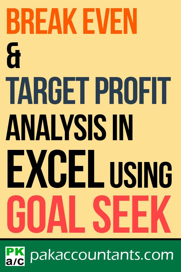 Break-even + Target profit analysis with Excel Goal Seek - How To - PakAccountants.com