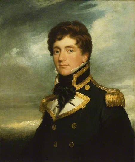 A half-length portrait to the left in captain's full-dress uniform of 1812–1825. The portrait was originally started between the date of the sitter's promotion to commander in 1822 and his departure for the Far East in 1825. By George Duncan Beechey