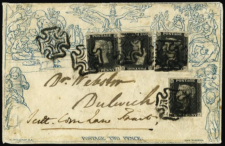 Great britain 1840 2d mulready envelope sgme42 penny