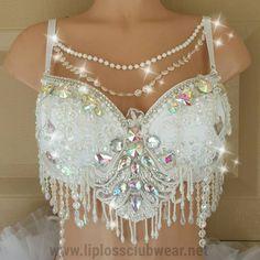 White Ice Queen Rave Bra Bride Bra Rave Bra White by LipglossWear