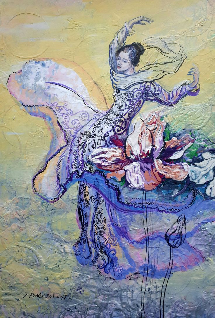 Julia Piačková, acrylic, ink,illustration, dance, girl