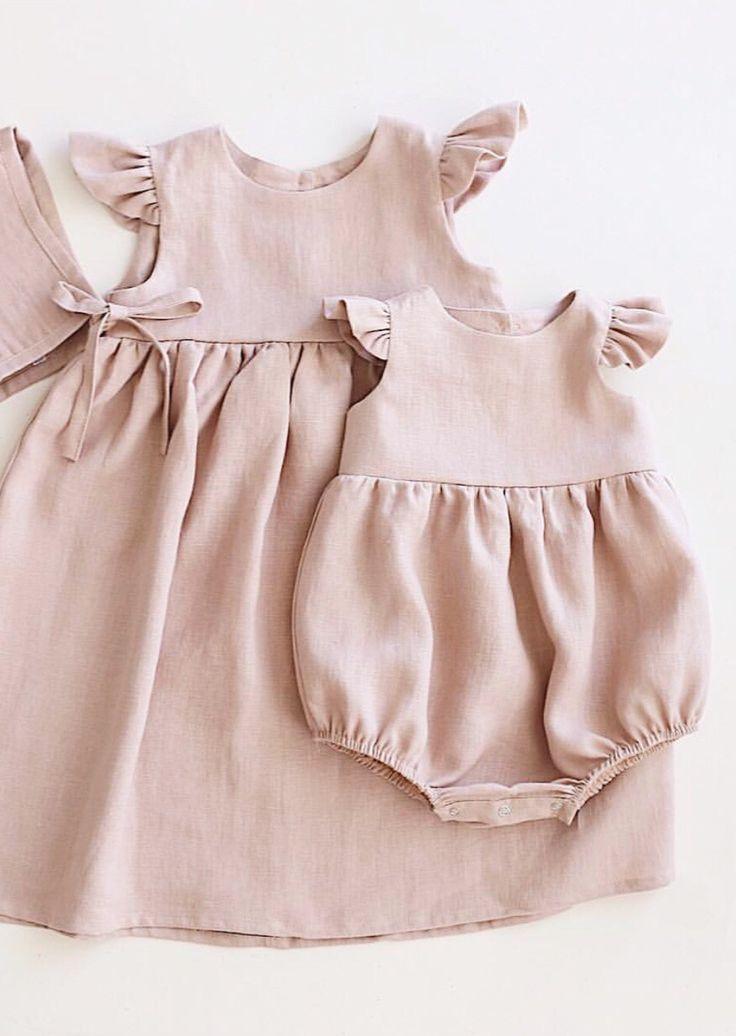 a49737eba Handmade Matching Linen Baby Dress   Romper