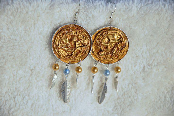 Attrapes-rêve - Boucles d'oreilles ethnique - boucles d'oreilles colorées - boucles d'oreilles capsules nespresso - boucles d'oreilles perles - cadeau
