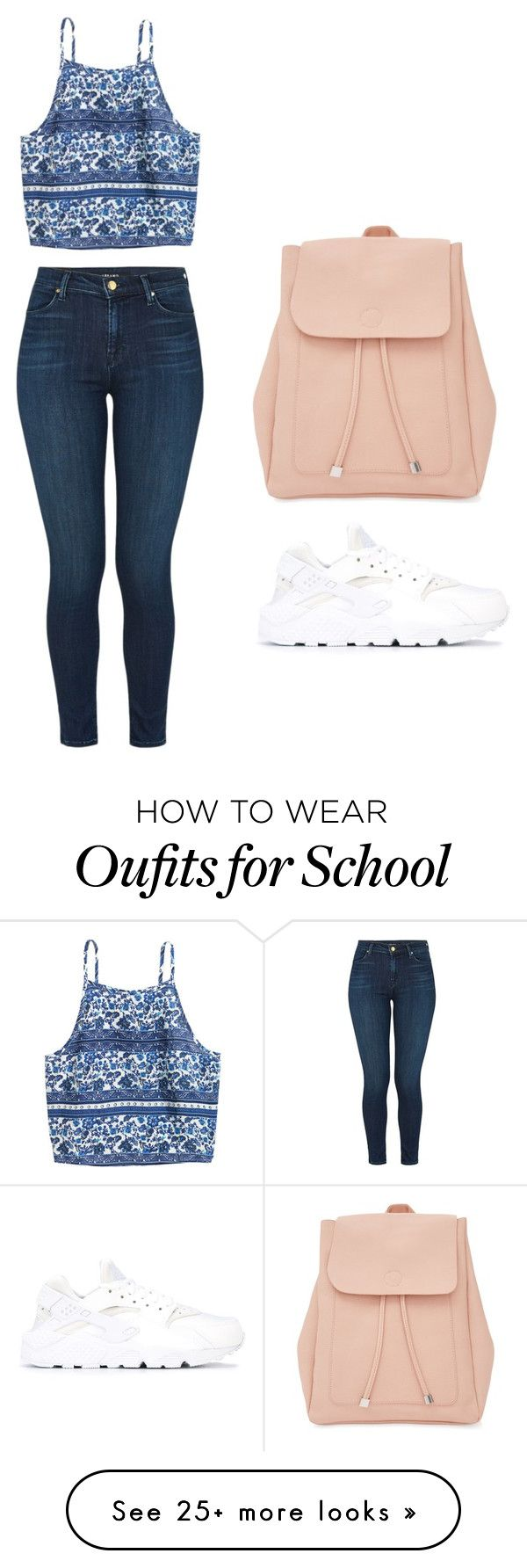 """school"" by zarivalentine-1 on Polyvore featuring NIKE, J Brand and New Look"