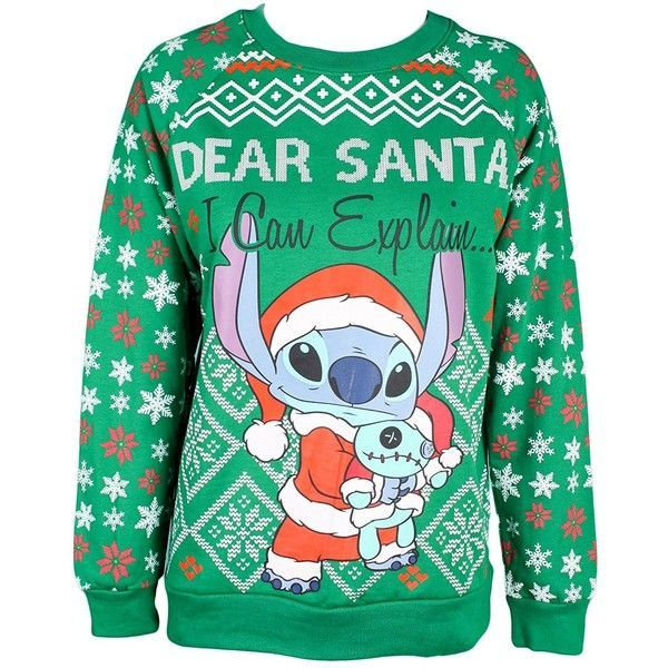 Disney's Lilo and Stitch Snowflake Santa Stitch Ugly Christmas Sweater... ($35) ❤ liked on Polyvore featuring tops, hoodies, sweatshirts, disney, hooded sweatshirt, hooded pullover sweatshirt, green hoodie and green top