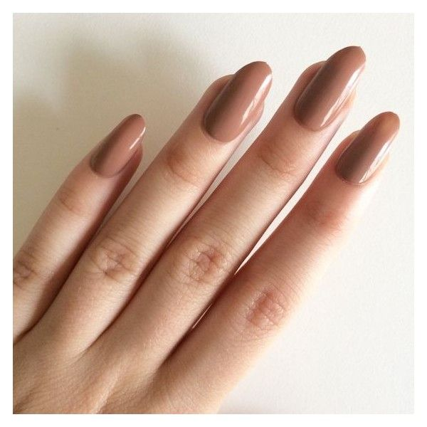 Gloss brown oval nails, hand painted acrylic nails, fake nails, false ❤ liked on Polyvore featuring beauty products, nail care, nail treatments and nails