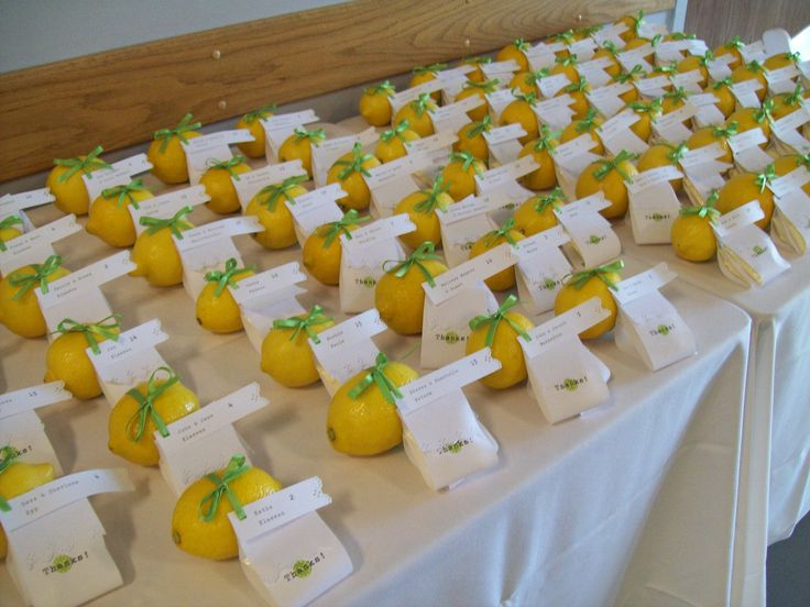 Lemon favours - all lined up and ready to go!