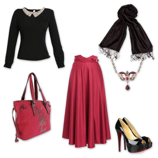 Bordo-Siyah ikilisi #Skirt: http://bit.ly/1gXGO0r #Blouse: http://bit.ly/1h4s3re #Bag: http://bit.ly/OaKizV #Shawl: http://bit.ly/1mqrEno #Fashion #Woman #Hijap