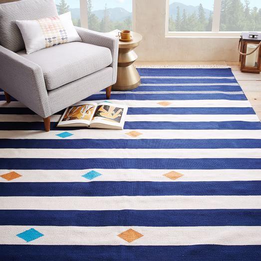 Steven Alan Geometric Stripe Cotton Kilim Rug, Ink, 8'x10' - West Elm $549