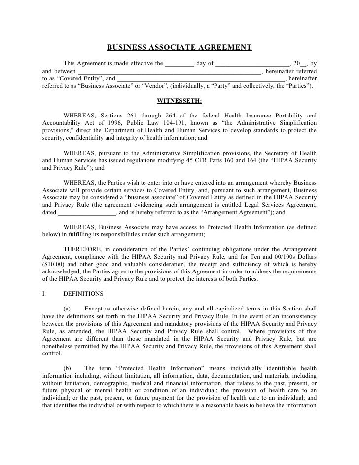 sample business associate agreement free partnership templates general