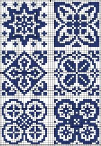 Six blue squares | Chart for cross stitch or filet crochet.