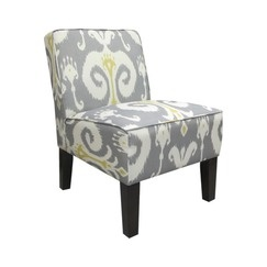 Armless Upholstered Slipper Accent Chair-Grey & Gold Ikat: Living Rooms, Slippers Chairs, Slippers Accent, Upholstered Chairs, Gold Ikat, Upholstered Slippers, Master Bedrooms, Armless Upholstered, Accent Chairs Grey