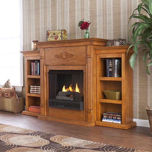 Cabinet Mantel: Electric Fireplace With Cabinet Bookcases Mantel, TV/Media