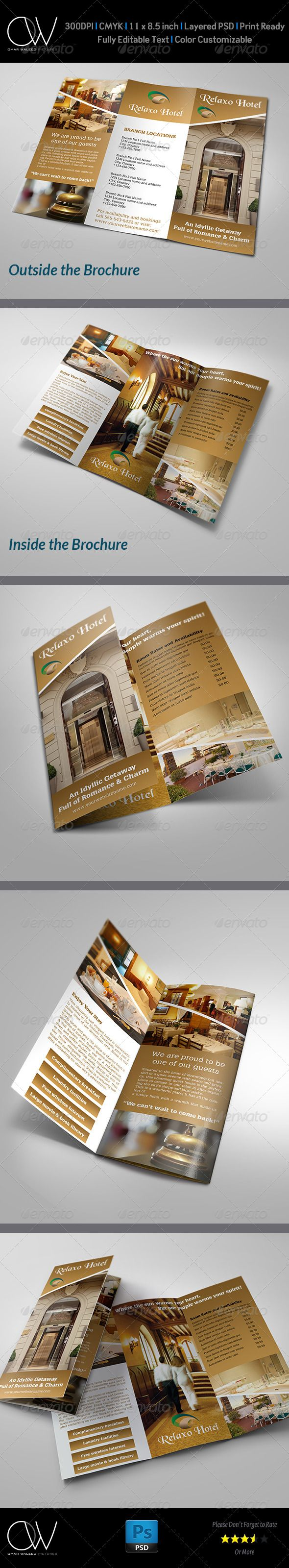 Hotel and Motel Tri-Fold Brochure Template  —  PSD Template