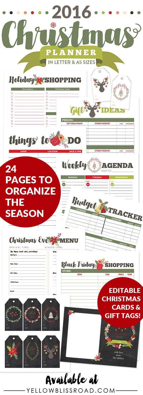 2016 Christmas Planner Letter and A5 sizes-Everything you need to organize your holidays from budget trackers and menu planners to editable Christmas Cards and Editable Gift Tags.
