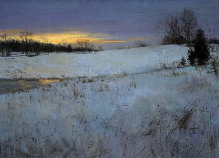 """""""Winter Afterglow"""" by Peter Fiore. This reminds me of walking on our farm near Christmas time... in the quiet still of the day."""