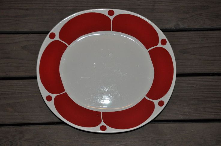 RARE VINTAGE ARABIA RED SUNNUNTAI LARGE SERVING PLATE by BIRGER KAIPIAINEN