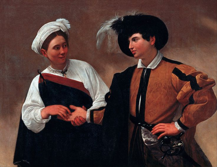 Caravaggio (Italian Baroque painter, 1571–1610) The Fortune Teller [first version], between 1594 and 1595. Oil on canvas, 45 × 59 in (115 × 150 cm). Musei Capitolini, Rome.