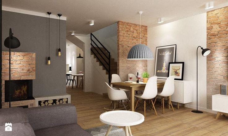Dom Brwinów 200 m2 - Mała otwarta jadalnia w salonie, styl nowoczesny - zdjęcie od Grafika i Projekt architektura wnętrz