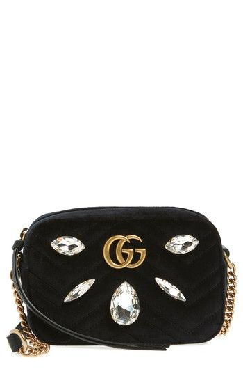 b3c93bac302 GUCCI GG MARMONT CRYSTAL MATELASSE QUILTED VELVET CROSSBODY BAG - BLACK.   gucci  bags  shoulder bags  crystal  velvet  crossbody