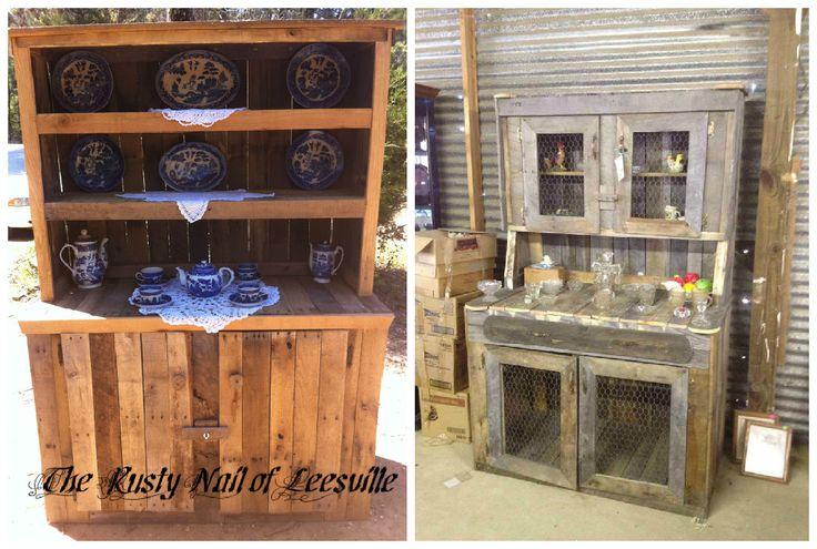 Recycled Pallet Into Kitchen Hutches #Hutch, #Kitchen, #PalletCabinet, #RecycledPallet