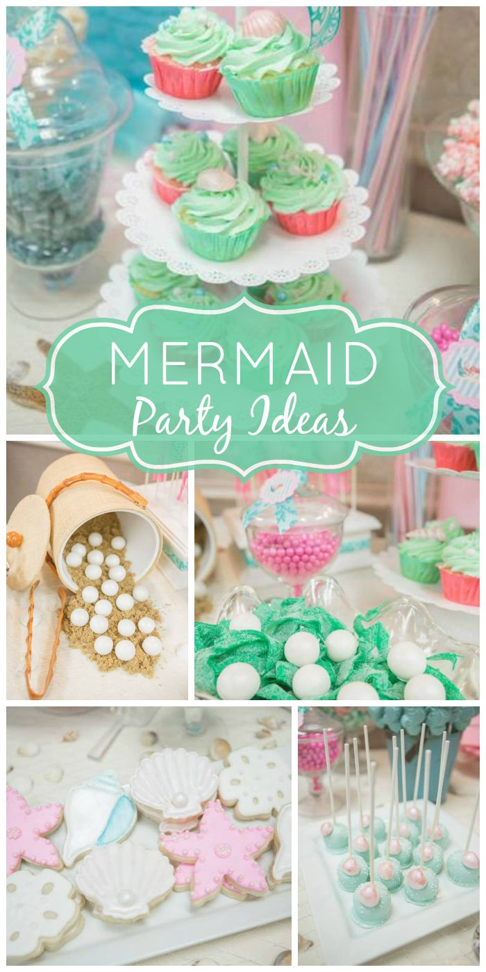 Such a gorgeous Mermaid girl baby shower in shades of pink and mint! See more party ideas at CatchMyParty.com!