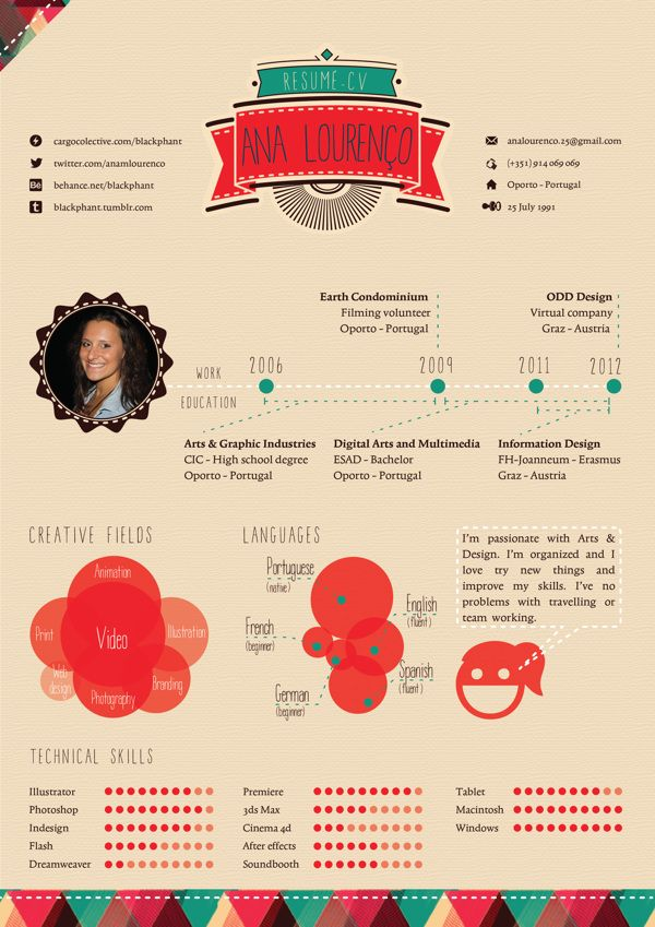 Infographic CV by Ana Lourenço, via Behance