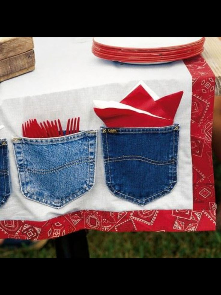 Recycle blue jean pockets for a table cloth - perfect for a summer picnic!