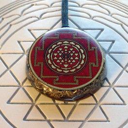 Red Shri Chakra Orgonite Pendant