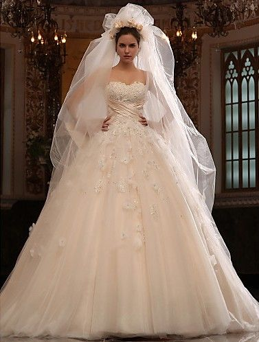 Charming A-line Sweetheart Cathedral Train Tulle Satin #Wedding Dress WAL07012-LT