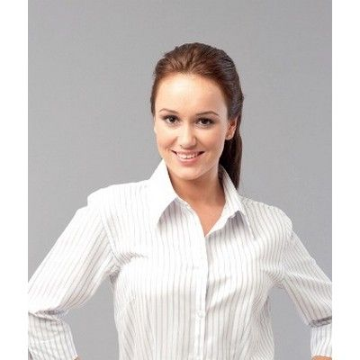 Womens Pinstripe L/S Shirt Min 25 - Clothing - Business Shirts - Her Business Wear - AS-UN20141 - Best Value Promotional items including Promotional Merchandise, Printed T shirts, Promotional Mugs, Promotional Clothing and Corporate Gifts from PROMOSXCHAGE - Melbourne, Sydney, Brisbane - Call 1800 PROMOS (776 667)