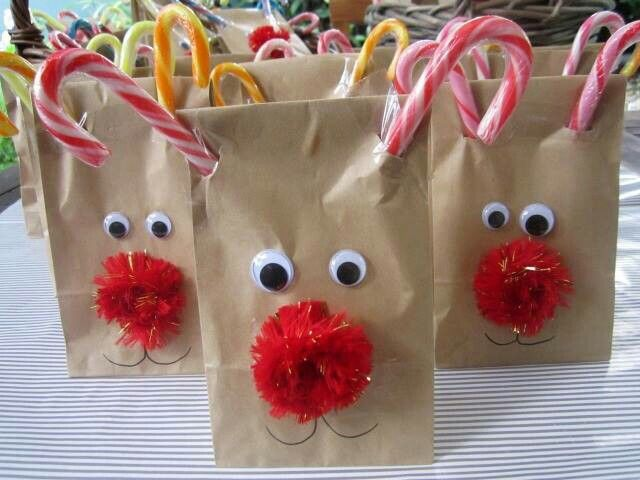 Rudolph snack bags; fill with jello fruit cups, popcorn, water bottle