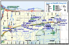 Map of Stoney Creek Waterfalls and other waterfalls close to hamilton