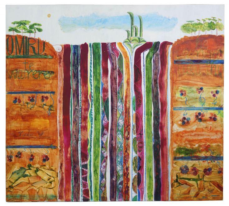 Rangihīroa Panoho, Te Wairere a Miru (Wairua Falls), 2013, acrylic inks and watercolour on board