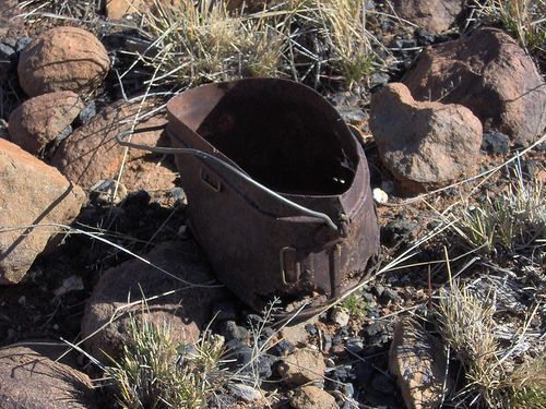 A Mess Tin left over from the Boer War at Doornbult which was a British Fort, Concentration Camp and Hospital prior to the relief of Kimberley. The area is littered with relics.